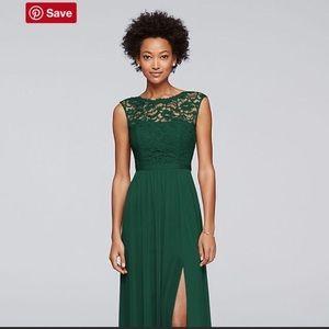 David's Bridal Long Lace Dress in Juniper